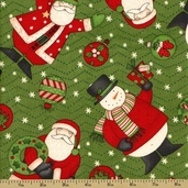 Ho-Ho-Holiday Cotton Fabric - Character Toss - Green