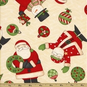 Ho-Ho-Holiday Cotton Fabric - Character Toss - Tan