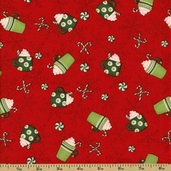 Ho-Ho-Holiday Cotton Fabric - Cocoa Toss - Red