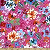 Hoffman Challenge 2014 - Anisa Floral Cotton Fabric - Pink