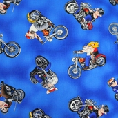 Hogs On Hogs Cotton Fabric Blue FUN-C9811