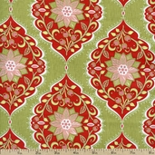 Holiday Bouquet Poinsettia Tapestry Cotton Fabric - Green