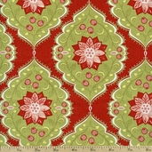 Holiday Bouquet Poinsettia Tapestry Cotton Fabric - Red