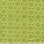 Holiday Bouquet Wreaths Cotton Fabric - Green