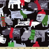 Holiday Dogs Cotton Fabric - Black DOG-C 8107