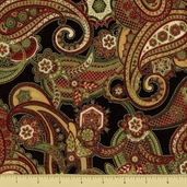 Holiday Flourish 5 Cotton Fabric - Feather Paisley - Black