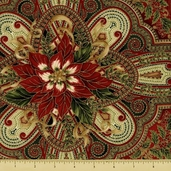 Holiday Flourish 5 Cotton Fabric - Medallion Paisley - Crimson