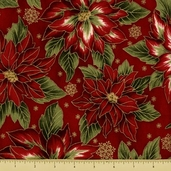 Holiday Flourish 5 Cotton Fabric - Poinsettias - Crimson