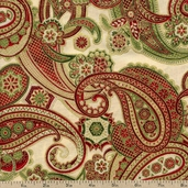 Holiday Flourish 5 Paisley Cotton Fabric - Ivory APTM-12410-15