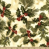 Holiday Flourish 6 Mistletoe Cotton Fabric - Holiday