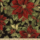 Holiday Flourish 6 Poinsettia Cotton Fabric - Black