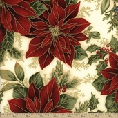Holiday Flourish 6 Poinsettia Cotton Fabric - Holiday