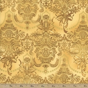 Holiday Flourish 7 Damask Metallic Cotton Fabric - Gold