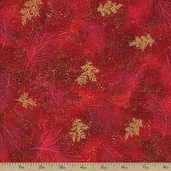 Holiday Flourish 7 Fern Metallic Cotton Fabric - Holiday