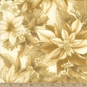 Holiday Flourish 7 Poinsettias Metallic Cotton Fabric - Antique