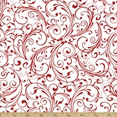 Holiday Frost Scroll Cotton Fabric - White