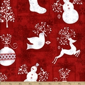 Holiday Frost Silhouettes Cotton Fabric - Red