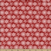 Holiday Frost Snowflake Cotton Fabric - Red