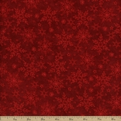 Holiday Frost Snowflake Tonal Cotton Fabric - Red