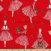 Holiday Hostess Holly Cotton Fabric - Red