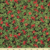 Holiday Magic Packed Holly Cotton Fabric - Black