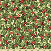 Holiday Magic Packed Holly Cotton Fabric - Cream