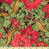 Holiday Magic Poinsettia and Ribbon Cotton Fabric - Black