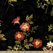 Holiday Opulence Metallic Bouquet Cotton Fabric - Black