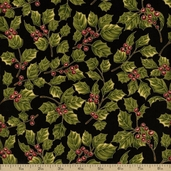 Holiday Opulence Metallic Holly Berry Cotton Fabric - Black