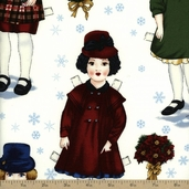 Holiday Paper Dolls Cotton Fabric - Vintage ADZ-12471-200