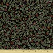 Holiday Serenade Cotton Fabric - Holly Berry - Black Gold