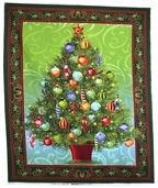 Holiday Treasures Cotton Fabric - Tree Panel - Multi-Color