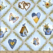 Holly Hobby Garden Check Flannel Fabric - Blue
