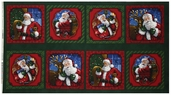 Holly Jolly Christmas 2 Santa Cotton Fabric Panel