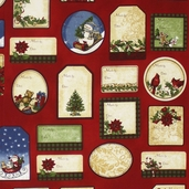 Holly Jolly Christmas 2 Tags Cotton Fabric - Holiday
