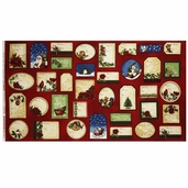 Holly Jolly Christmas 2 Tags Cotton Fabric Panel - Holiday