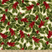 Holly Jolly Christmas 3 Holly Berry Cotton Fabric - Holiday