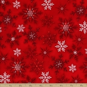 Holly Jolly Christmas 3  Snowflakes Cotton Fabric - Red