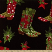 Holly Jolly Christmas Boots Cotton Fabric - Black