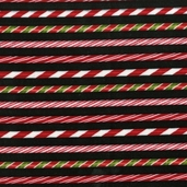 Holly Jolly Christmas Cotton Fabric Candy Cane Stripe - Holiday Black