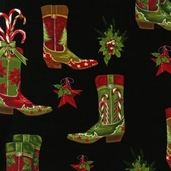 Holly Jolly Christmas Cotton Fabric Cowboy Boots - Black
