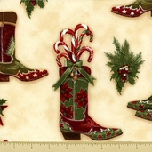 Holly Jolly Christmas Cotton Fabric - Festive Boots - Natural