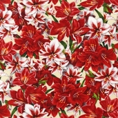 Holly Jolly Christmas Cotton Fabric Holiday Lilies - Natural
