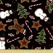 Holly Jolly Christmas Cotton Fabric - Treat Toss - Black