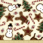Holly Jolly Christmas Cotton Fabric - Treat Toss - Natural