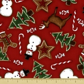 Holly Jolly Christmas Cotton Fabric - Treat Toss - Red