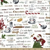 Holly Jolly Christmas Ingredients Cotton Fabric - White