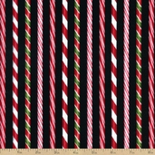 Holly Jolly Christmas Stripe Cotton Fabric - Holiday Black