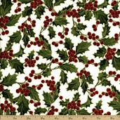 Home for the Holidays Holly Cotton Fabric - Ivory