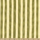 Home is in the Kitchen Stripe Cotton Fabric - Olive